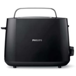 Philips Toaster HD2581 90 Daily Collection 2 kurze Schlitze 830 W 2 Toastkammern integrierter Brötchenaufsatz 8 Bräunungsstufen schwarz