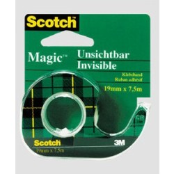 (0 11 EUR 1 m) Scotch Klebeband Magic Tape 810 12mm x 10m transparent im Abroller grün